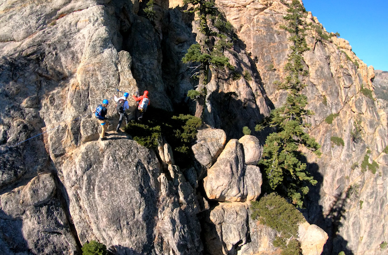 Traversing the Tahoe Via Ferrata in Squaw Valley