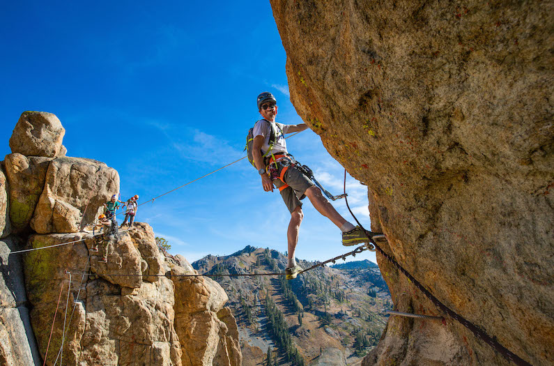 Adrian Ballinger at the monkey in the middle bridge on the Tahoe Via Ferrata