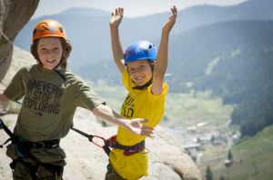 kids having a good time on the Tahoe Via Ferrata!